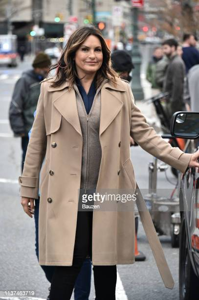 Mariska Hargitay is spotted on the set of Law Order SVU filming at 60 Centre Street on April 15 2019 in New York City