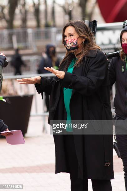 "Mariska Hargitay on the set of ""Law & Order: Special Victims Unit"" on April 16, 2021 in New York City, New York."