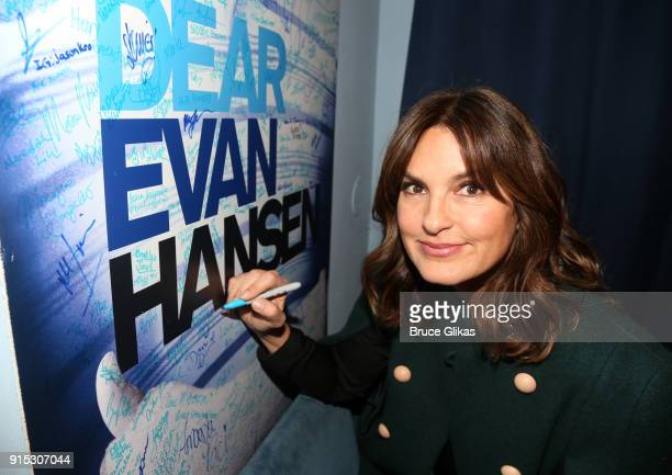 Mariska Hargitay signs the celebrity wall backstage as Taylor Trensch joins the cast of 'Dear Evan Hansen' on Broadway at The Music Box Theatre on...