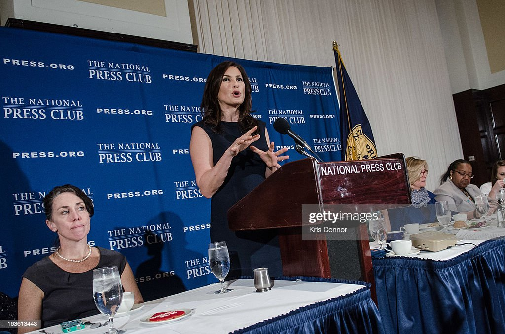 Mariska Hargitay speaks during a National Press Club Luncheon about her career and founding the Joyful Heart Foundation, whose mission is of healing, educating and empowering survivors of sexual assault, domestic violence and child abuse at National Press Club on March 13, 2013 in Washington, DC.