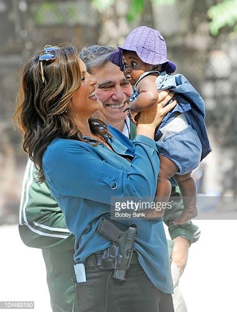 Mariska Hargitay with her daughter Amaya Josephine Hermann on location for Law Order SVU on September 9 2011 on the Streets of Manhattan in New York...