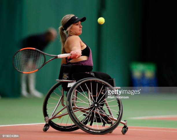 Mariska Venter of South Africa in action during her match with Michaela Spaanstra of the Netherlands during day 2 of the Preston Indoor Wheelchair...