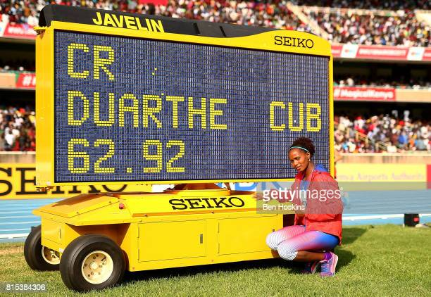 Marisleisys Duarthe of Cuba celebrates after winning gold in the final of the girls javelin on day five of the IAAF U18 World Championships at The...