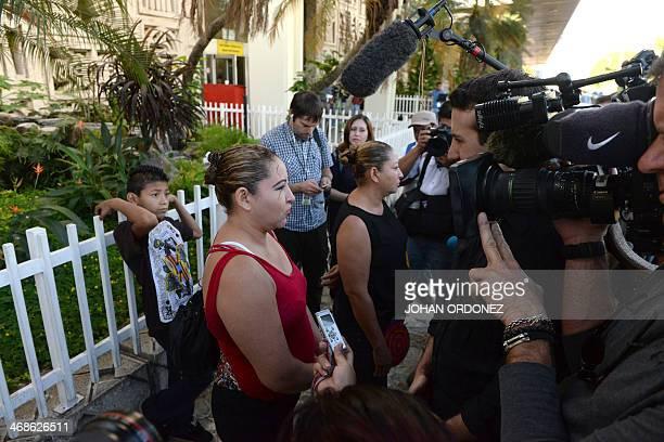Marisol Alvarenga Maria Elena Alvarenga and child Emerson Alvarenga relatives of castaway Jose Salvador Alvarenga are interviewed by journalists at...