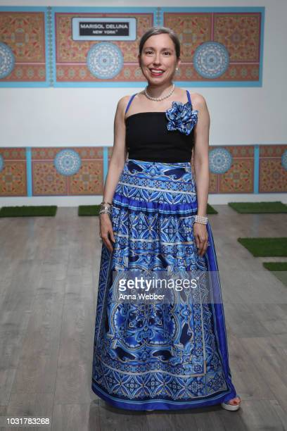 Marisol Deluna poses before the Marisol Deluna New York Fashion Week presentation at Tals Studio on September 11 2018 in New York City