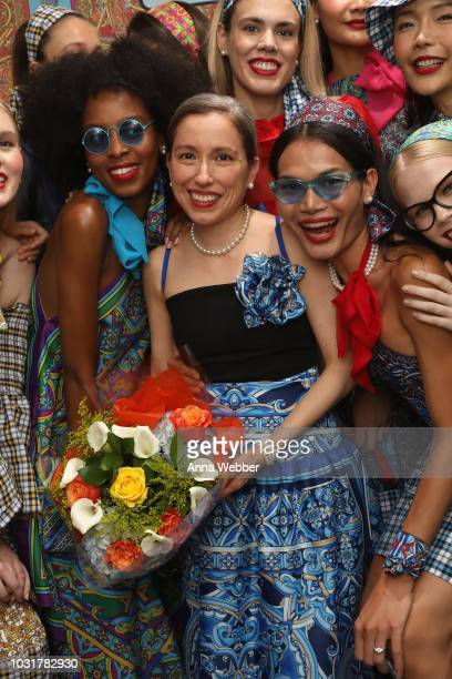 Marisol Deluna poses with models after the Marisol Deluna presentation at Tals Studio on September 11 2018 in New York City