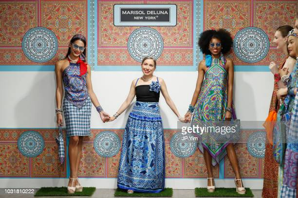 Marisol Deluna poses with models during the finale of the Marisol Deluna New York Fashion Week presentation at Tals Studio on September 11 2018 in...