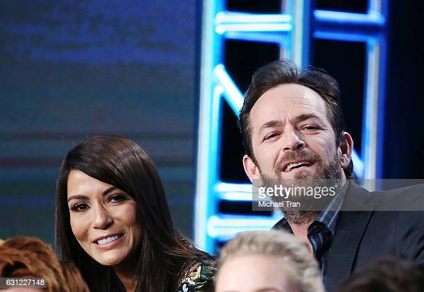 Marisol Nichols and Luke Perry for the 'Riverdale' television show speak onstage during the 2017 Winter TCA Tour Panels CW held at The Langham...