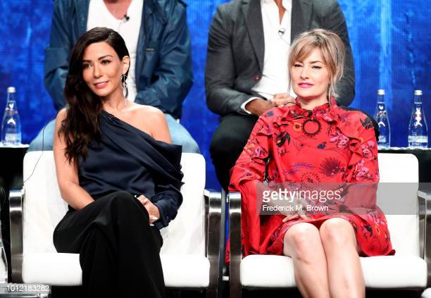 Marisol Nichols and Mädchen Amick from Riverdale speak onstage at the CW Network portion of the Summer 2018 TCA Press Tour at The Beverly Hilton...