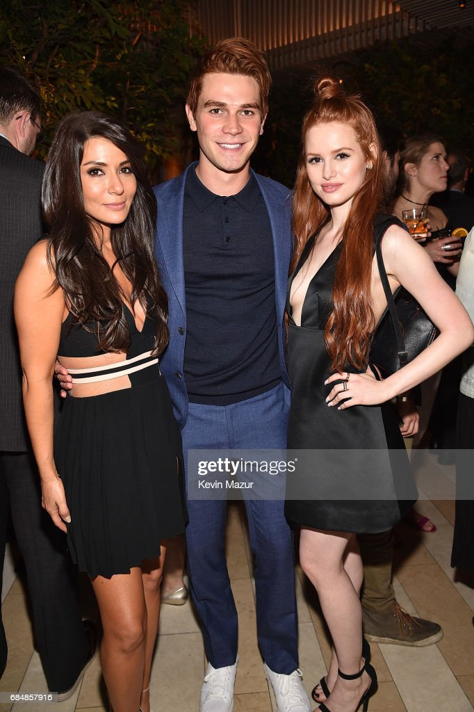 Marisol Nichols, KJ Apa and Madelaine Petsch attend The CW Network's 2017 party at Avra Madison Estiatorio on May 18, 2017 in New York City.
