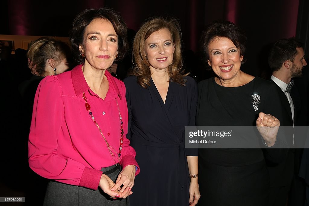 Marisol Touraine, Valerie Trierweiler and Roselyne Bachelot attend the AIDES International Gala Dinner at Grand Palais on November 27, 2012 in Paris, France.