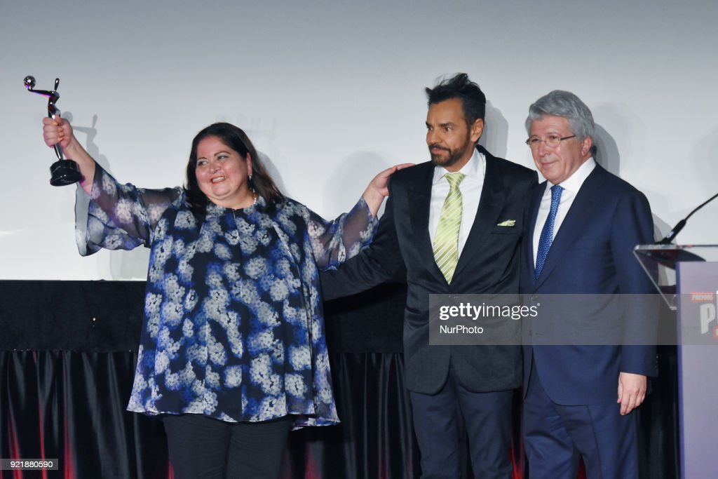 Marisol Venegas, Actor Eugenio Derbez and Atletico de Madrid president Enrique Cerezo is seen during the press conference to promote 5th Platinum Awards of Ibero-American Cinema, the event will be held on April 29 in Rivera Maya. at Cineteca Nacional on February 20, 2018 in Mexico City, Mexico