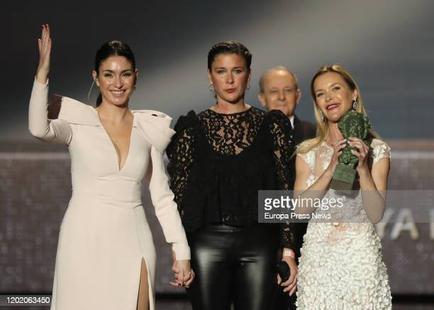 Marisol's daughters Maria Estevez and Celia Flores collect the Goya of Honor during the 34th edition of the 'Goya Cinema Awards' ceremony at Jose...