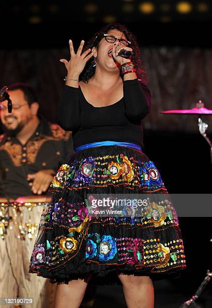 Marisoul Hernandez of La Santa Cecilia performs onstage during the 12th annual Latin GRAMMY Awards pretelecast at the Mandalay Bay Resort Casino on...