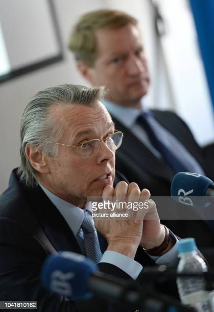 Mariss Jansons principal conductor with the Bavarian Broadcasting symphony orchestra and BR director Ulrich Wilhelm during a press conference about...