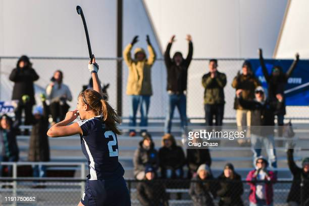 Marissa Baker of Middlebury celebrates after a Middlebury goal during the Division III Women's Field Hockey Championship held at Spooky Nook Sports...