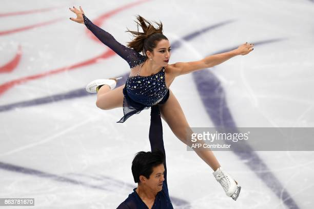 US Marissa Castelli and Marvin Tran compete in the Pairs short program at the ISU Grand Prix Rostelecom Cup in Moscow on October 20 2017 / AFP PHOTO...