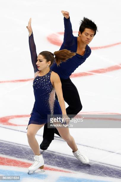 Marissa Castelli and Mervin Tran of United States perform during the Pairs Short event on the first day of the ISU GP Rostelecom Cup 2017 at the...
