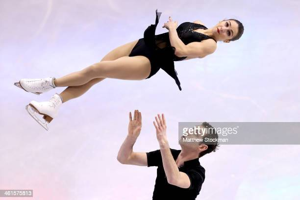 Marissa Castelli and Simon Shnapir compete in the pairs short program during the Prudential U.S. Figure Skating Championships at TD Garden on January...
