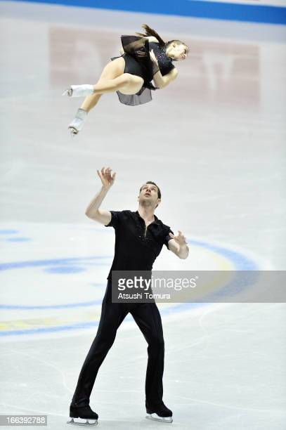 Marissa Castelli and Simon Shnapir of USA compete in the pairs short program during day two of the ISU World Team Trophy at Yoyogi National Gymnasium...