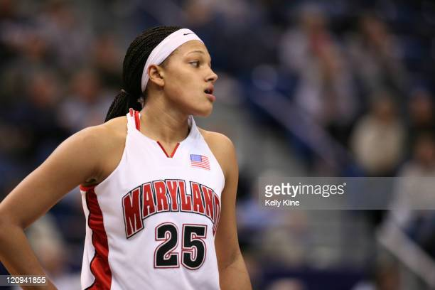 Marissa Coleman chokes back tears as the Defending National Champion Terps Fall to Mississippi during the second round of the NCAA tournament at the...
