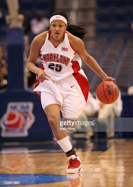 Marissa Coleman drives up the court against Harvard during the NCAA Women's Basketball Tournament first round matchup between the Harvard Crimson and...