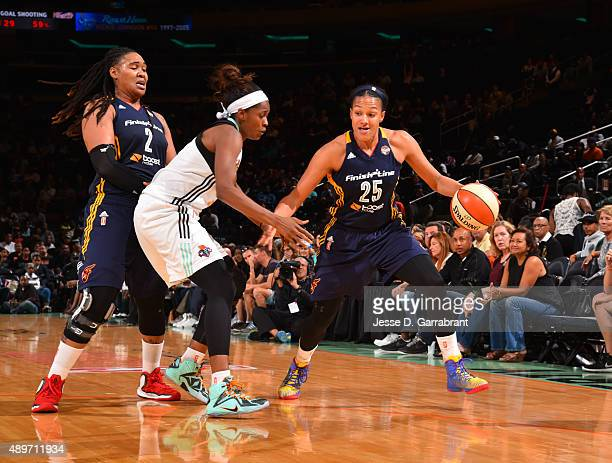 Marissa Coleman of the Indiana Fever dribbles the ball against the New York Liberty during game One of the WNBA Eastern Conference Finals at Madison...
