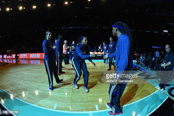 Marissa Coleman of the Indiana Fever gets pumped up for the game against the New York Liberty during game one of the WNBA Eastern Conference Finals...