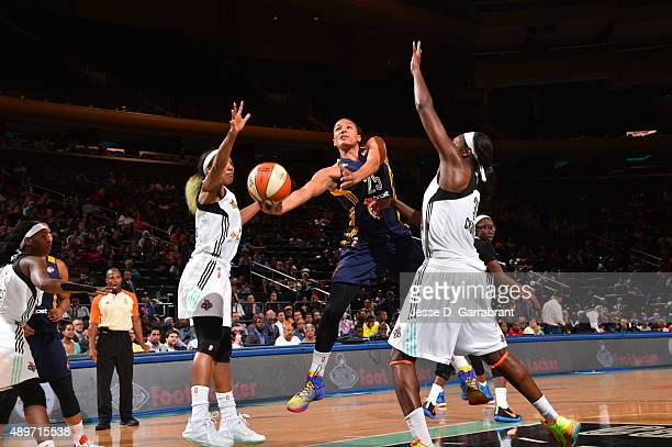 Marissa Coleman of the Indiana Fever goes up for the layup against the New York Liberty during game One of the WNBA Eastern Conference Finals at...
