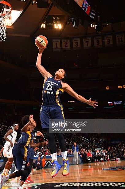 Marissa Coleman of the Indiana Fever goes up for the rebound against the New York Liberty during game Three of the WNBA Eastern Conference Finals at...