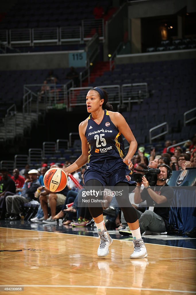 Marissa Coleman #25 of the Indiana Fever handles the ball against the Washington Mystics in Game Two of the Eastern Conference Semifinals during the 2014 WNBA Playoffs on August 23, 2014 at the Verizon Center in Washington, DC.
