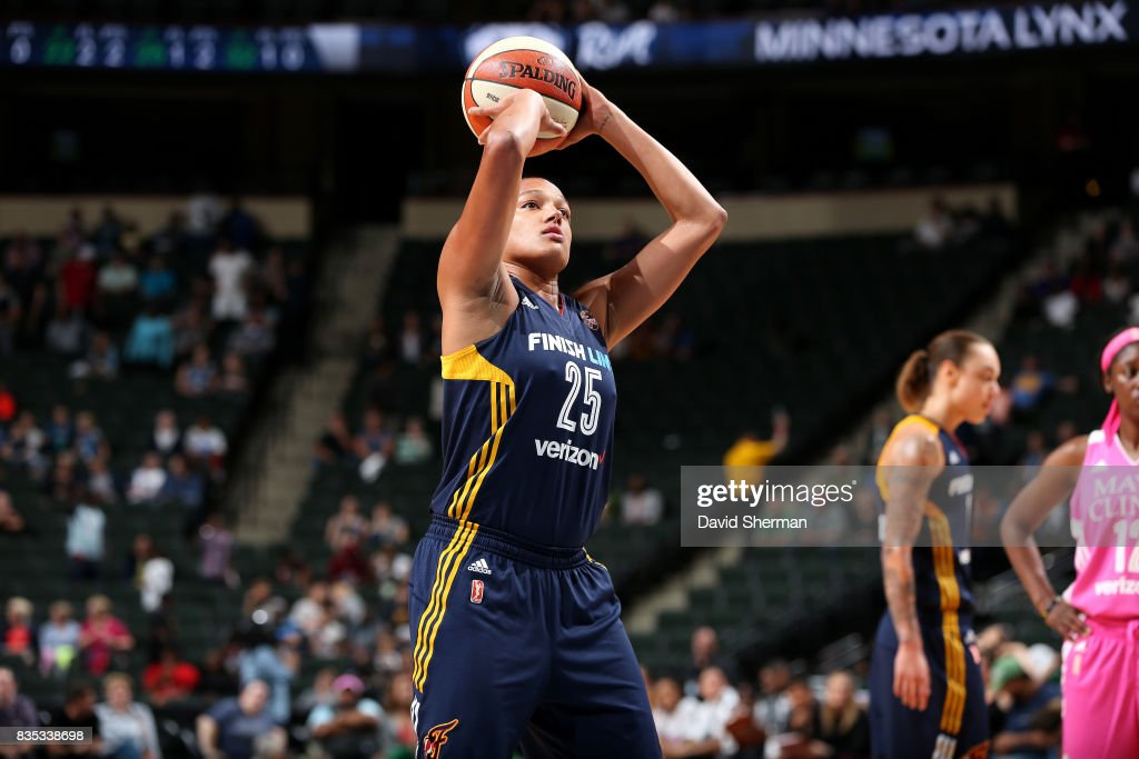 Marissa Coleman #25 of the Indiana Fever shoots a free throw during the game against the Minnesota Lynx during the WNBA game on August 18, 2017 at Xcel Energy Center in St. Paul, Minnesota.