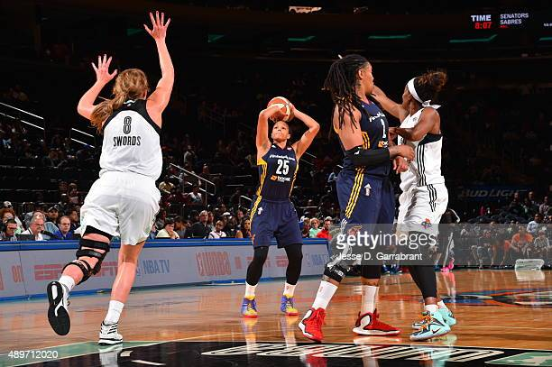Marissa Coleman of the Indiana Fever shoots the ball against the New York Liberty during game One of the WNBA Eastern Conference Finals at Madison...