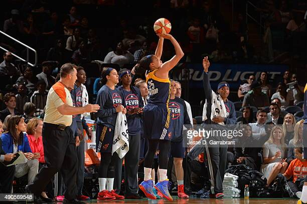 Marissa Coleman of the Indiana Fever shoots the ball against the New York Liberty during game Three of the WNBA Eastern Conference Finals at Madison...