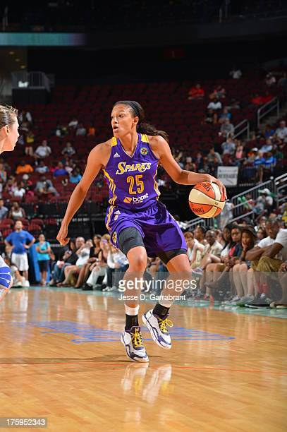 Marissa Coleman of the Los Angeles Sparks handles the basketball during a game against the New York Liberty on August 10 2013 at Prudential Center in...