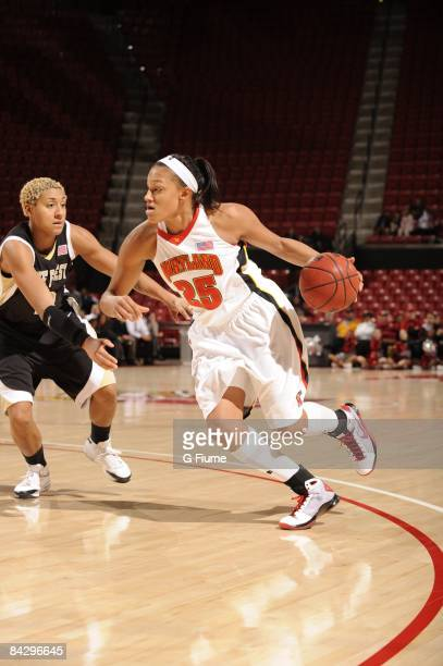 Marissa Coleman of the Maryland Terrapins handles the ball against the Wake Forest Demon Deacons at the Comcast Center on January 8 2009 in College...