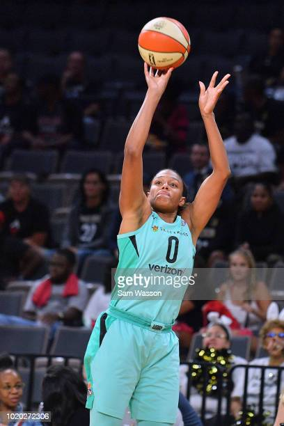 Marissa Coleman of the New York Liberty shoots against the Las Vegas Aces during their game at the Mandalay Bay Events Center on August 15 2018 in...