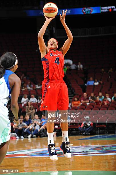 Marissa Coleman of the Washington Mystics shoots against the New York Liberty during a game on July 28 2011 at the Prudential Center in Newark New...