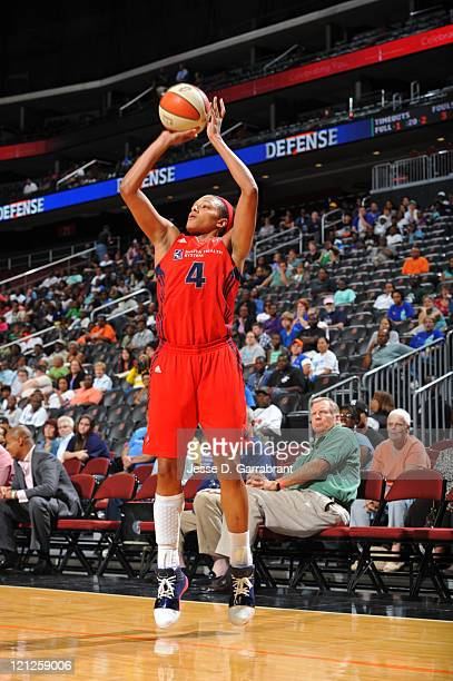 Marissa Coleman of the Washington Mystics shoots against the New York Liberty during a game on August 16, 2011 at the Prudential Center in Newark,...