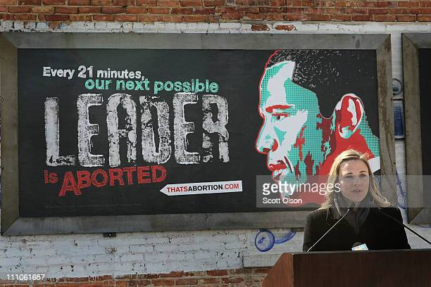Marissa Gabrysch of Life Always speaks at the dedication of controversial prolife billboards depicting President Barack Obama March 29 2011 in...