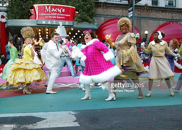 Marissa Jaret Winokur and the cast of Hairspray perform at the 76th Annual Macy's Thanksgiving Day Parade in Herald Square November 28 2002 in New...
