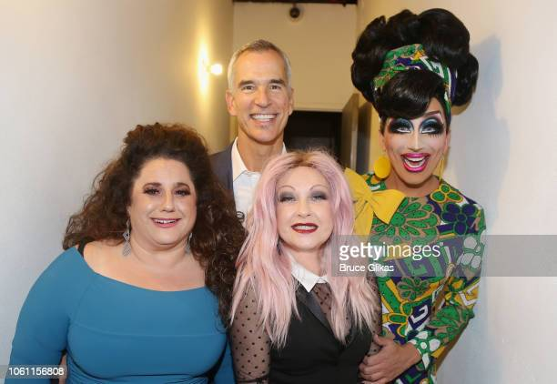 Marissa Jaret Winokur Jerry Mitchell Cyndi Lauper and Bianca Del Rio pose at The Second Stage Theater 2018 Fall Benefit honoring Harvey Fierstein at...