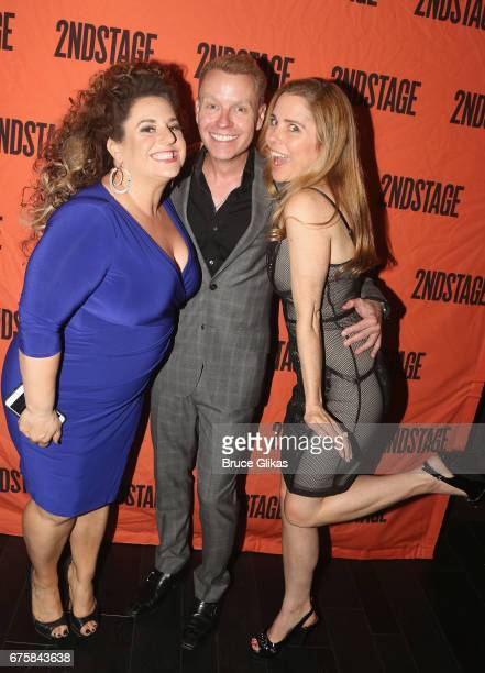 Marissa Jaret Winokur Rusty Mowery and Kerry Butler pose at The Second Stage Theater 38th Anniversary Gala honoring David Rockwell at TAO Downtown on...