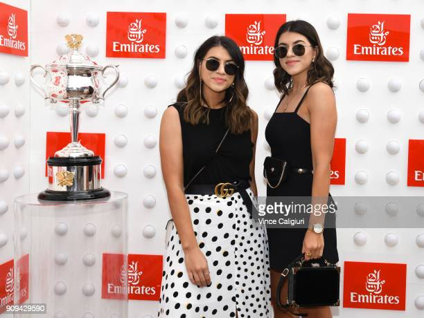 Marissa Karagiorgos and Bec Karagiorgos arrive ahead of the Emirates ladies brunch on day ten of the 2018 Australian Open at Melbourne Park on...