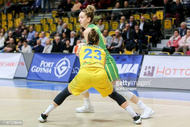 Marissa Kastanek and Aleksandra Crvendakic are seen in action during EuroLeague Women group B match between Asseco Arka Gdynia and Sopron Basket in...