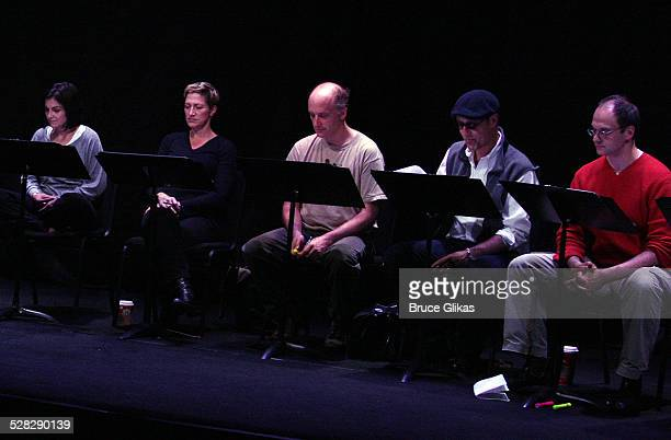 Marissa Matrone Edie Falco Frank Wood Kevin Geer and Michael Mastro perform at a rehearsal for the 10th anniversary reunion reading of Side Man...