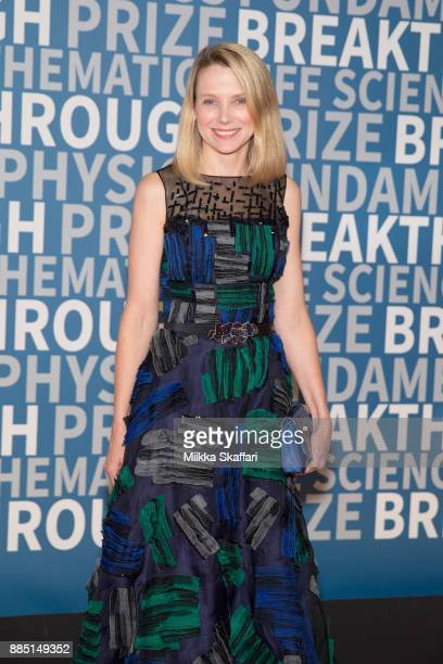 Marissa Mayer arrives at the 2018 Breakthrough Prize at NASA Ames Research Center on December 3 2017 in Mountain View California
