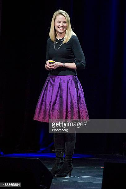 Marissa Mayer chief executive officer of Yahoo Inc smiles during the Yahoo Inc Mobile Developer Conference in San Francisco California US on Thursday...