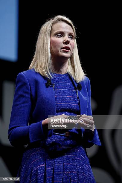 Marissa Mayer chief executive officer of Yahoo Inc speaks at the Cannes Lions International Festival Of Creativity in Cannes France on Tuesday June...