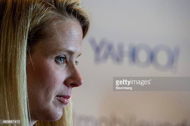 Marissa Mayer president and chief executive officer at Yahoo Inc listens to a reporters question during a press conference at the Yahoo Inc Mobile...